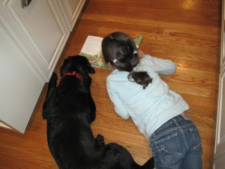 Black Labraodr being read a story by child